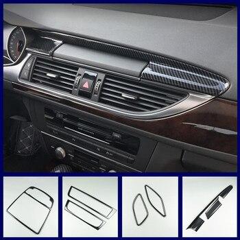 Автомобильная консоль навигационная панель с воздушным покрытием, отделка из углеродного волокна, наклейки, зубчатые полоски для Audi A6 C7 A7 ...