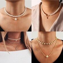 YWZIXLN Boho Charm Gold Color Multi-layer Pearl Chain Fashion Necklaces Bijoux For Women Elegant Choker Jewelry Wholesale N068