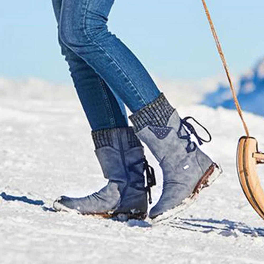 วางฤดูหนาวหิมะรองเท้าผู้หญิงซิปแฟชั่น PU หนัง MID-CALF กลับ LACE-up ออกแบบต่ำส้นรองเท้า