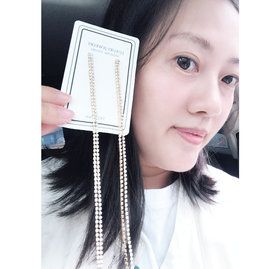 2020 exaggerated personality long style crystal earrings temperament female joker pendant jewelry party preferred girl gifts