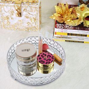 Image 4 - Porta sobremesas redondo de cristal, bandeja de vanidade de cupcake, decoração de casamento para perfume, joias e maquiagem estilo nórdico