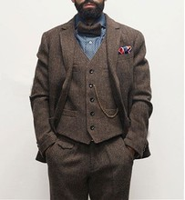 Dark brown mens winter retro groom wedding dress classic herringbone pattern tweed 3 pieces (jacket + vest pants)