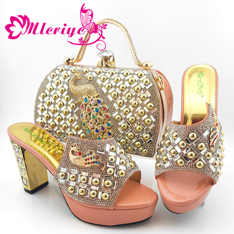 Peach Latest Comfortable Shoes and Bags Set Italian Sets 2020 Nigerian Shoes and Matching Bags Women Rhinestone Wedding Shoe