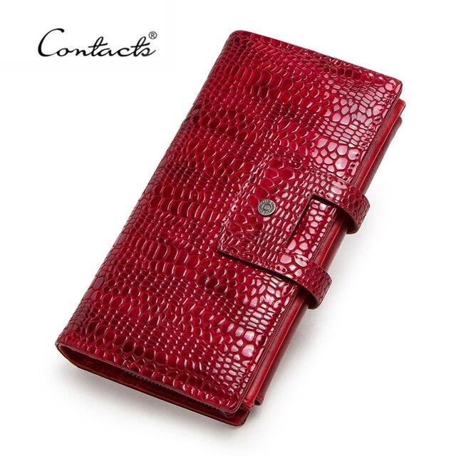 Contacts couro genuíno mulheres carteiras senhora bolsa longo carteira de jacaré elegante moda feminina embreagem com titular do cartão