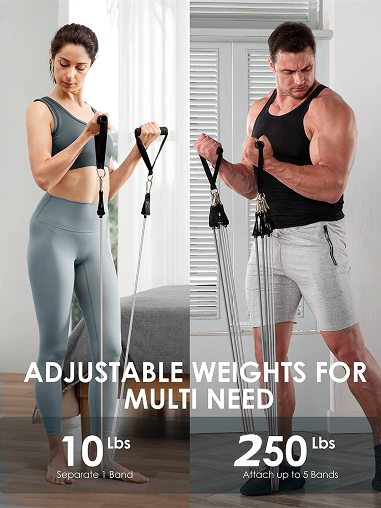 250lbs Resistance Bands Set Fitness Workout Gym Pull Rope Yoga Latex Tube Sports Elastic Booty Bands Exercise Equipment for Home 3