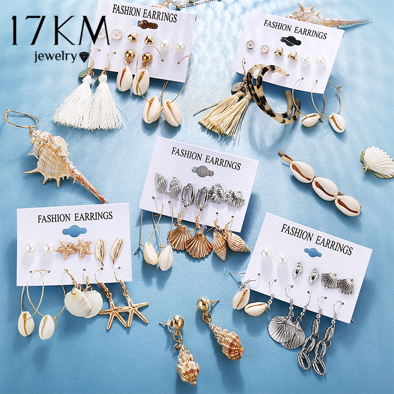 17KM Ocean Shell Starfish Earrings Set For Women Girls Alloy Drop Dangle Earring Femme Spring&Summer Jewelry 2020 New Gift