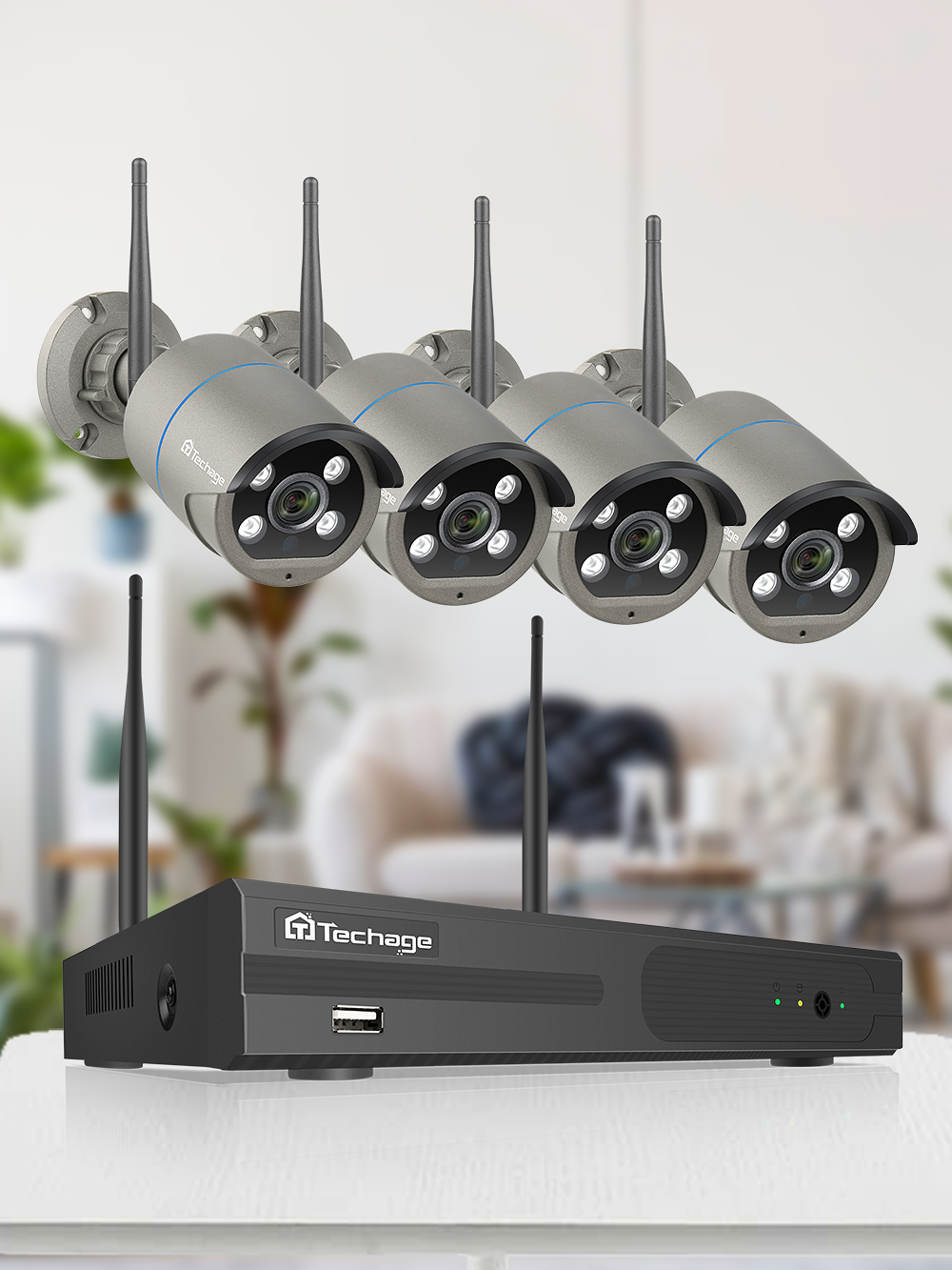 Techage Nvr-Kit Surveillance-Set Ip-Camera Cctv-Security-System Outdoor-Wifi Wireless
