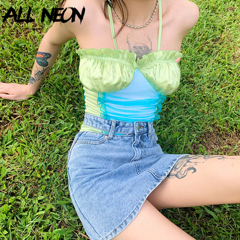 ALLNeon E-girl Style Patchwork Cross Spaghetti Strap Stain Cami Tops Sweet Ruffles Hems Ruched Mesh Front Backless Crop Top Chic tie front cross wrap cami top