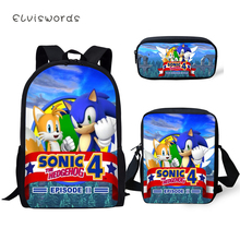 ELVISWORDS Fashion 3PCs Set Backpack Sonic The Hedgehog Pattern Students School Bags Cartoon Backpack/Flaps Bag/Pen Bag