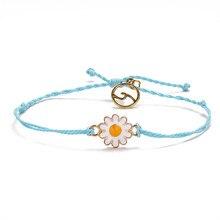 Female Bohemian Daisy Bracelet Women Adjustable Handmade Rope Chains Bracelets Summer Beach Simple Jewelry Ladies