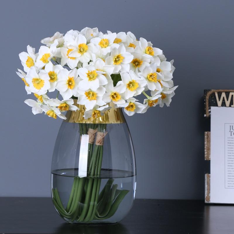 6Pcs/ 12pcs Bundle Daffodil Orchid White Wedding Bridal Bouquet Mariage DIY Scrapbook Flores Artificiales House Decor