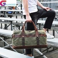 Crazy Horse Leather Canvas Travel Bag Large Capacity Luggage Bag Men Shoulder Travel Duffel Bags Women Vintage Duffle Handbag