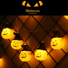 1pc Halloween 20 LED Pumpkin Lights Lanterns String for All Saints Day Party Decoration