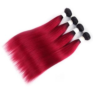Image 4 - Ombre Red Brazilian Straight Human Hair Weave Bundles 1B 30 Brown 8 26 Inch Hair Bundles Non Remy Hair Extension 1/3/4 PCS KEMY