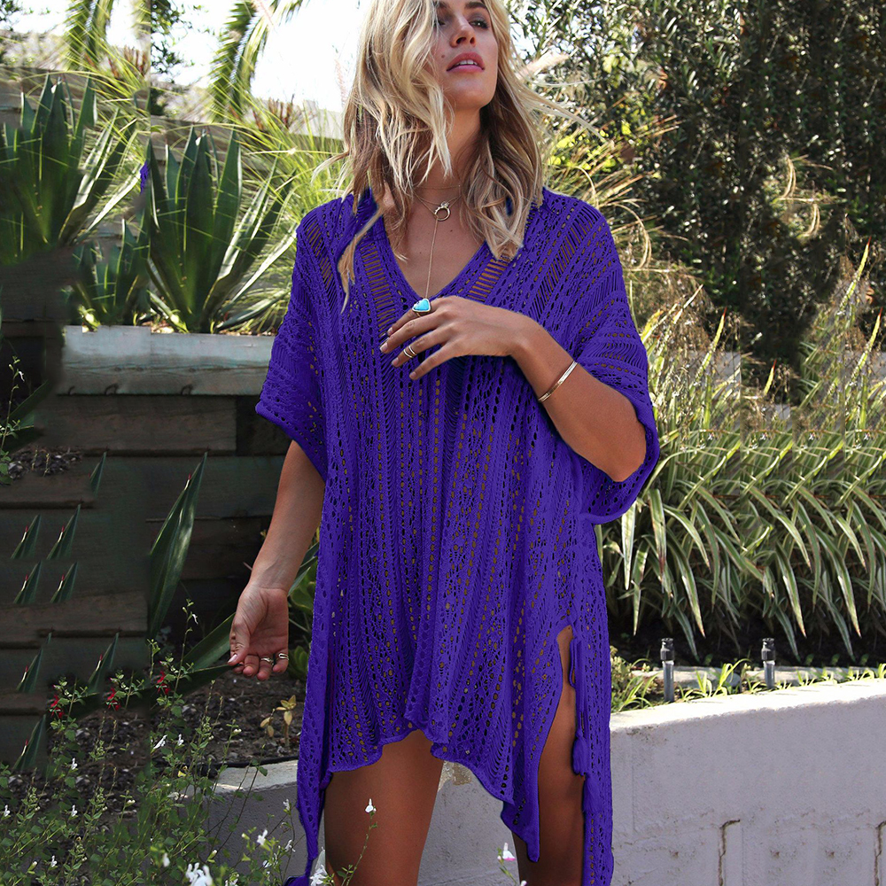 New Knitted Beach Cover Up Women Bikini Swimsuit Cover Up Hollow Out Beach Dress Tassel Tunics Bathing Suits Cover-Ups Beachwear 16