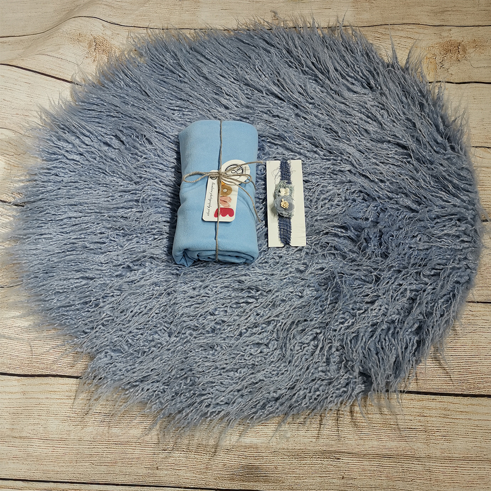 Dia=60cm Round Faux Fur Blanket+160*40cm Double Faced Milled Wrap +matched Cotton Headband For Newborn Baby Photography Prop Ba