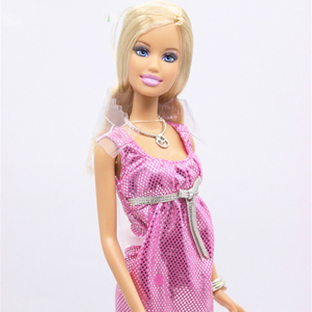 28cm fashion doll Blond Hair Pink evening dress 5 joints Best Gift for Child Christmas gift
