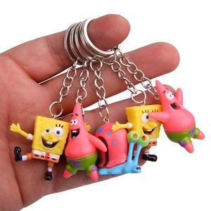 LXJERY 5 Styles Cartoon Spongebob Characters KeyChain Women Lovely Key Chain Bag Pendant Key Ring For Women Kids Girls Toy Gift