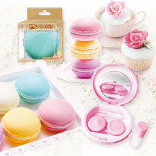 New Arrive Macaron Shape Contact Lens Box Portable Small Lovely Eyewear Bag Container Lenses Soak Storage Case Hot