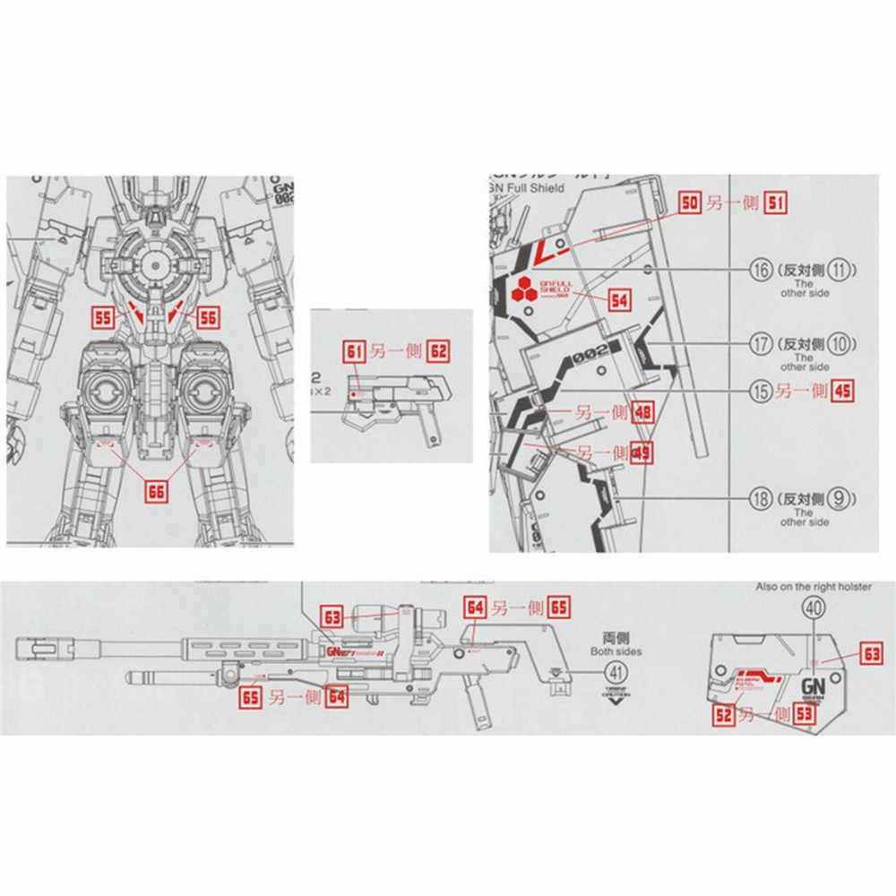 DL דגם מדבקות מים מדבקות GN12 עבור Bandai MG 1/100 GN-002 Gundam Dynames ערכת מודל