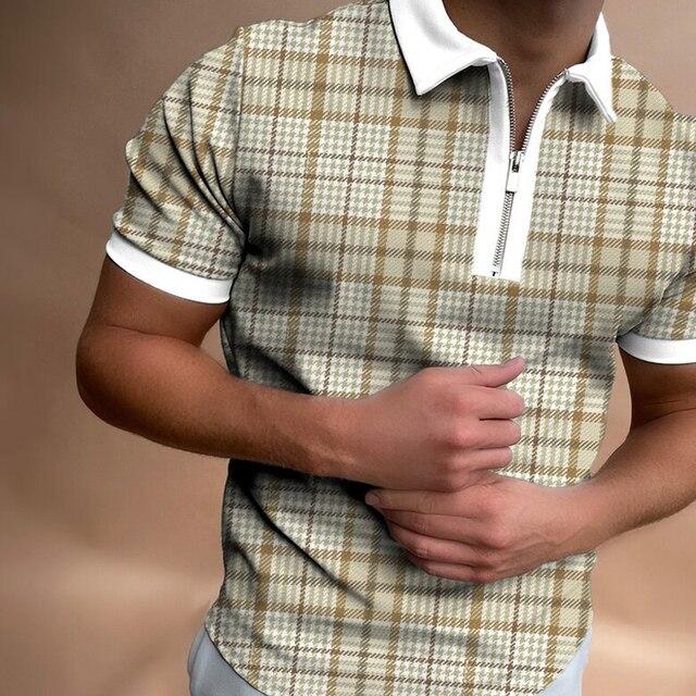 Fashion Plaid Men Short Sleeve Polo Shirts Casual Turn-down Collar Zipper Design Brand Tops 2021 Summer Polo Business Clothes 1