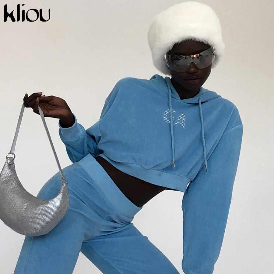 Kliou Hoodies Azul Curta Camisola Mulheres Carta Streetwear Top Colheita moletom Com Capuz 2019 Outono Das Mulheres Da Forma Roupas Casuais