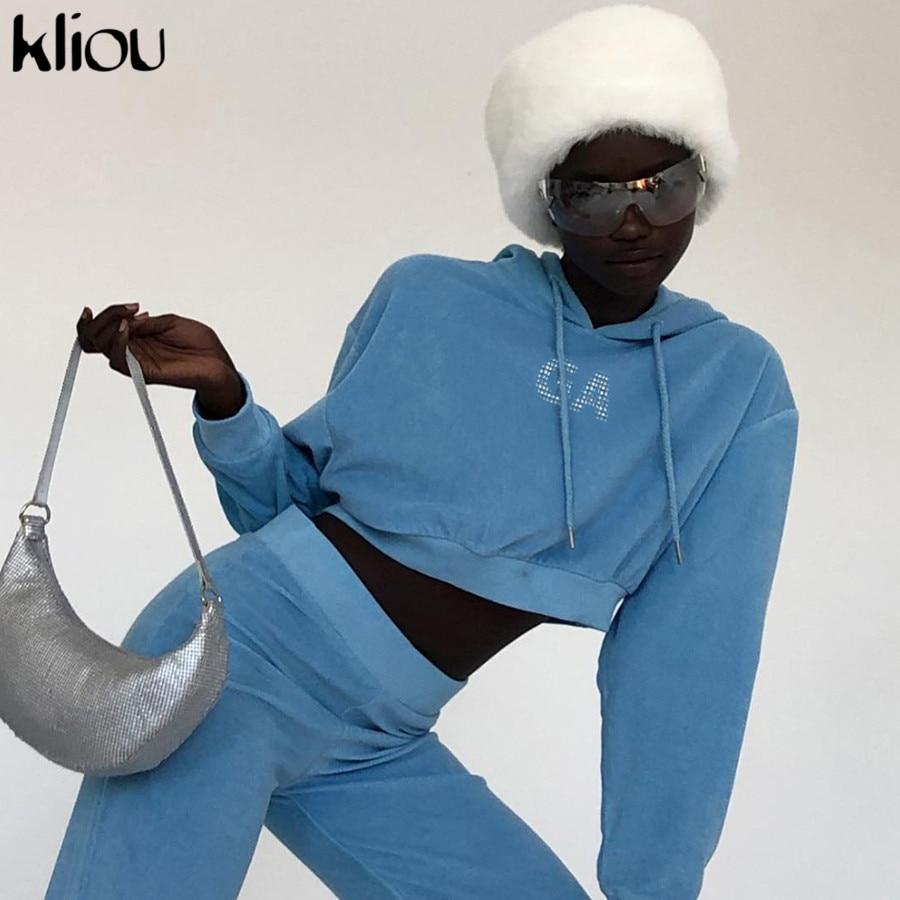 Kliou Hoodies Blue Short Sweatshirt Women Streetwear Letter Crop Top Hoodie 2019 Autumn Women Fashion Clothes Casual  Moletom
