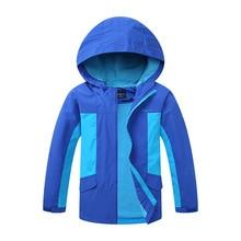 Autumn New Hooded Waterproof Child Coat Kids Outfits Baby Boys Jackets Patchwork Warm Fleece Children Outerwear For 100-150cm цены