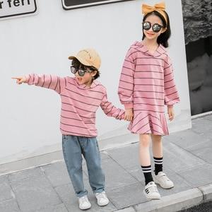 Image 4 - 家族マッチングトレーナー春秋ママ娘綿ストライプドレスお父さん息子因果フード付きtシャツカップルマッチング服