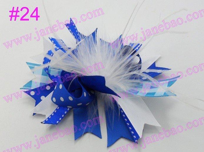72 шт., новинка 4,5 дюймов, бант для волос из перьев, модный бутик, для девочек, банты для волос с животным принтом, банты из ленты
