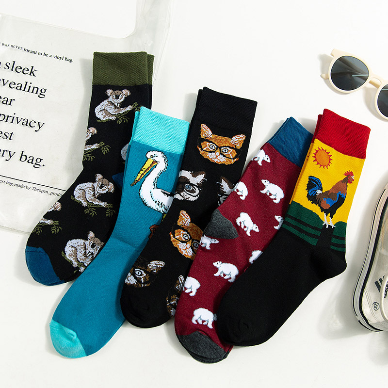 Cotton Animal Crew Men's Socks Cartoon Men Sock Warm Korean Happy Funny Novelty Streetwear Casual Sporting Fashion Calcetines