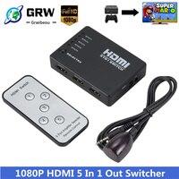 Grwibeou-Divisor HDMI 5 en 1, conmutador de salida, 5 puertos, Hub, interruptor automático 5x1, 1080p, HD 1,4, con Control remoto para HDTV XBOX360 PS3
