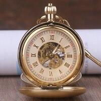 Luxury Golden Luminous Mechanical Pocket Watch Men Women Fob Chain Exquisite Sculpture Copper Automatic Pocket Watch