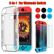 3 in 1 For Nintendo Switch Transparent Back Hard Case +Tempered Glass Screen Protector + 6pcs Thumb Grips Caps