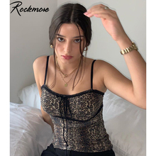 Rockmore Leopard Printed Lace Up Spaghetti Strap Off Shoulder Tank Top Women Bodycon Summer Club Camisole Crop Tops Casual Camis