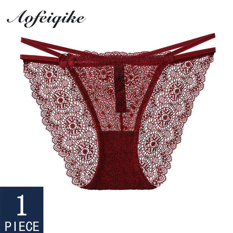 Underwear For Woman Sexy Lace Panties Briefs Floral Soft Female 1 Piece Aofeiqike