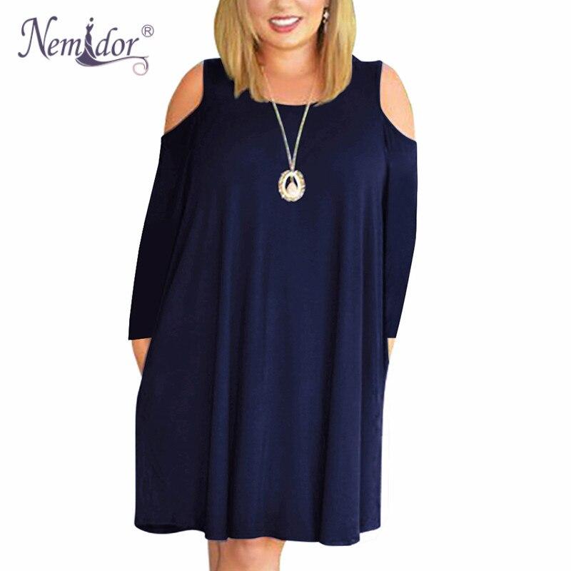 Nemidor Women's Long Sleeve Plus Size  T shirt Dress (2)
