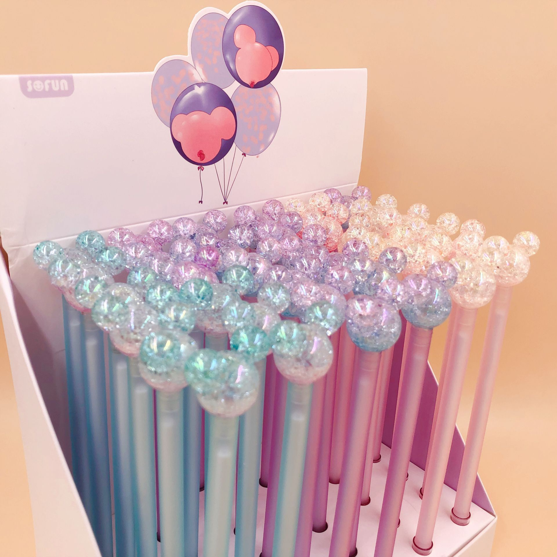 36pcs Disney Mickey Korean Creative Cartoon Gel Pen Black Ink Color Crystal Dali Gel Gel Pen Office Student Writing Gift