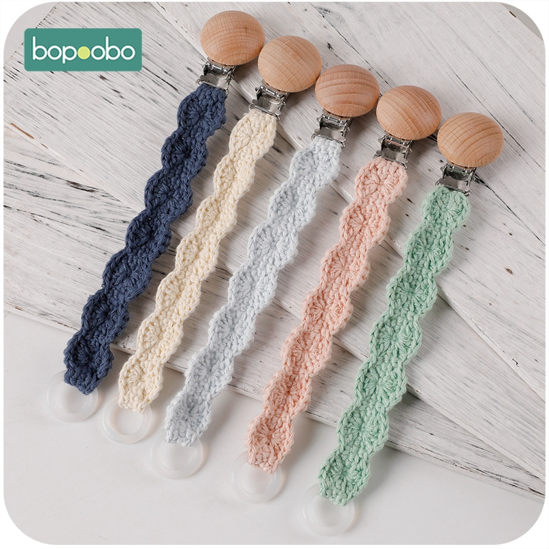 Bopoobo Newborn Toy Feeding Accessories 5PCS Baby Crochet Pacifier Chain Lace Cloth Plush Animal Toys Pacifier Clip Holder Baby