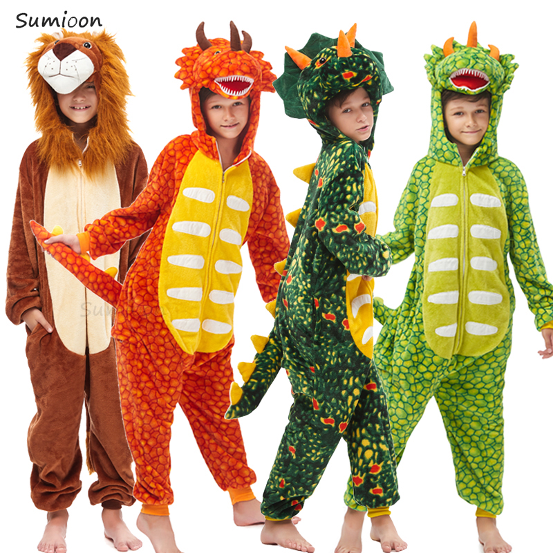 Kids Kigurumi Onesie Unicorn Pajamas For Children Animal Dinosaur Blanket Sleepers Baby Costume Winter Boy Girl Licorne Jumspuit