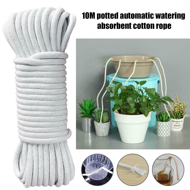 Newly 10M Self Watering Wick Cord Cotton Rope For Indoor Potted Plant Self-Watering DIY FIF66