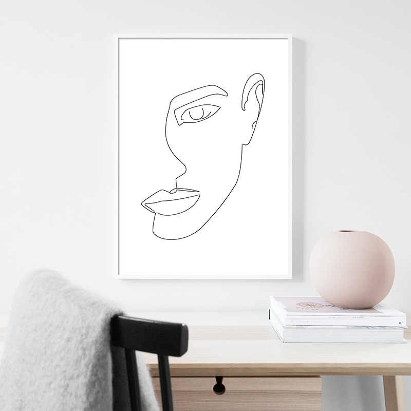 Line Drawing Woman Body Face Abstract Poster Black White Nordic Minimalism Wall Art Print Canvas Painting Decorative Picture