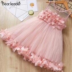 Urso líder meninas vestido 2019 novo verão malha meninas roupas rosa applique vestido de princesa crianças verão roupas do bebê meninas vestido