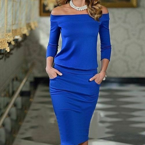 2020 New Style Women Club <font><b>Bodycon</b></font> <font><b>Dress</b></font> Long Sleeve Slash Neck <font><b>Sexy</b></font> Night Club Wear Black <font><b>Blue</b></font> Celebrity Party Pencil <font><b>Dresses</b></font> image