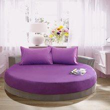 Capa de colchão de casal de roupa de cama redonda de algodão para casa elástica 200/220 cm completa rainha rei colcha de cor sólida