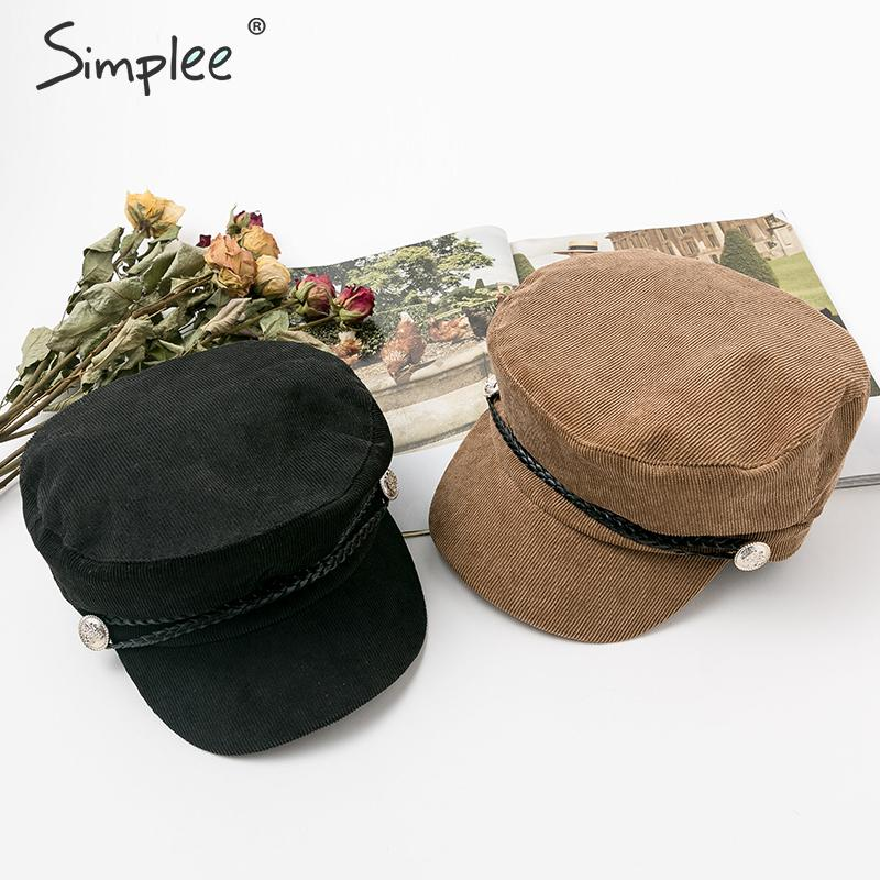 Simplee Elegant Navy Knitted Women Hat Casual Buttons Joker Streetwear Wool Beret Fashion Rope Ladies Autumn Winter Retro Cap