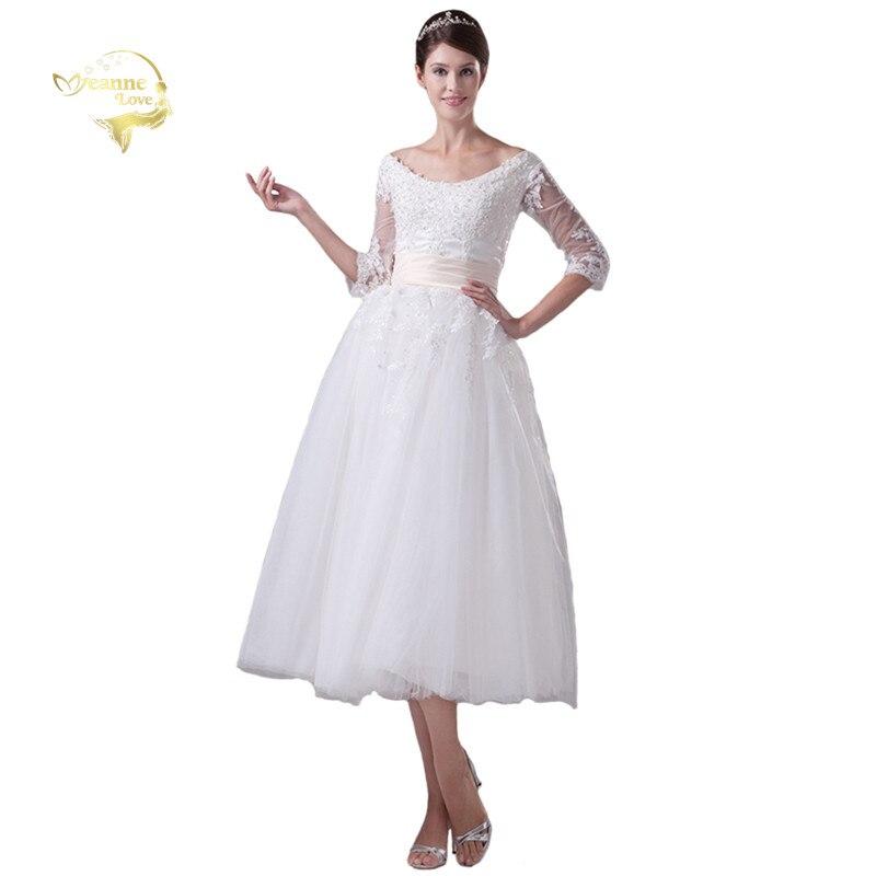 Jeanne Love New Arrival Short A Line Wedding Dresses 2020 Tea Length Lace Beading Sleeves Bridal Dress Robe De Mariage JLOV75944