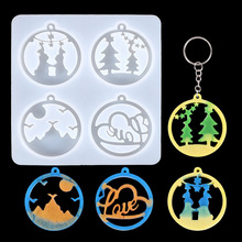 DIY Crystal Epoxy Mold English Christmas Series Keychain Jewelry Pendant Earrings Resin Silicone Mould Wholesale Drop Shipping