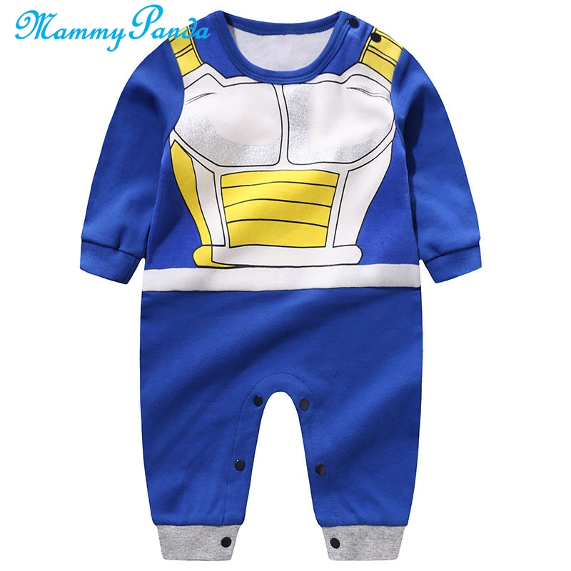 MPANDA Dragon Ball Vegeta Jumpsuits Baby Boy Girl Romper Kids Clothes Bodysuit For Newborns 100% Cotton Anime Long Sleeve Saiya