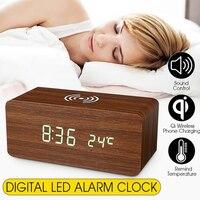 Alarma Digital LED  reloj de madera Qi  cargador inalámbrico  base de Control de sonido  USB  4 colores opcionales  reloj LED de madera  Dropshipping